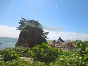 Rocky islet Japan coastline