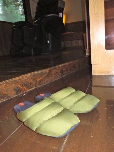 Japanese people usually turn their slippers around so they can step right in