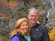Betsy and Todd Stone by the Silver Cascade, Crawford's Notch, 2013