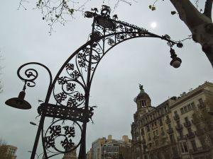 Antoni Gaudi-designed streetlights on Passeig de Gracia