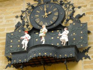 Basque dancer clock in Laguardia Spain