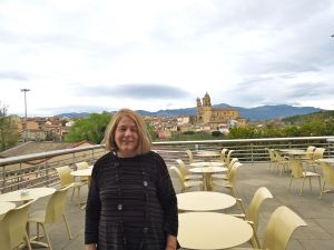 Collette on the hotel lounge terrace