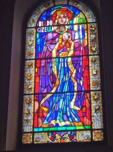 Isn't she impressive? Stained glass image of Gizella, from the chapel of the holy hand.