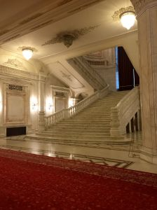 Ceaușescu had the stairs rebuilt several times so that the rise and tread was perfect; this set is Elena's